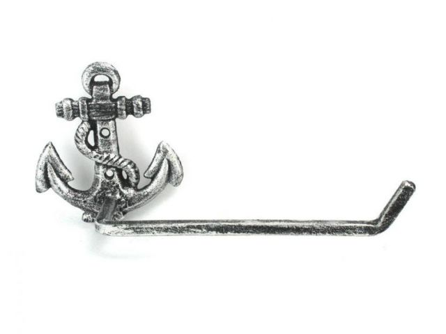 Antique Silver Cast Iron Anchor Toilet Paper Holder 10