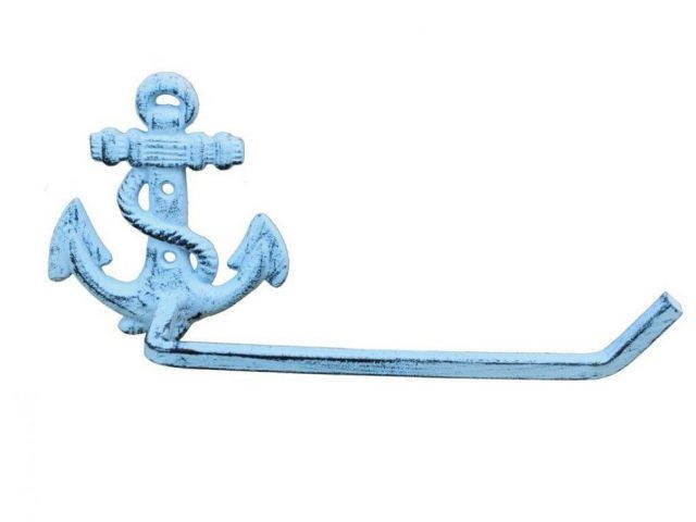 Dark Blue Whitewashed Cast Iron Anchor Toilet Paper Holder 10