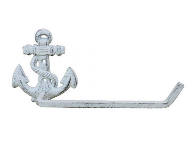 Whitewashed Cast Iron Anchor Hand Towel Holder 10