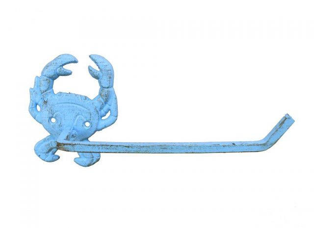 Rustic Light Blue Cast Iron Crab Toilet Paper Holder 10