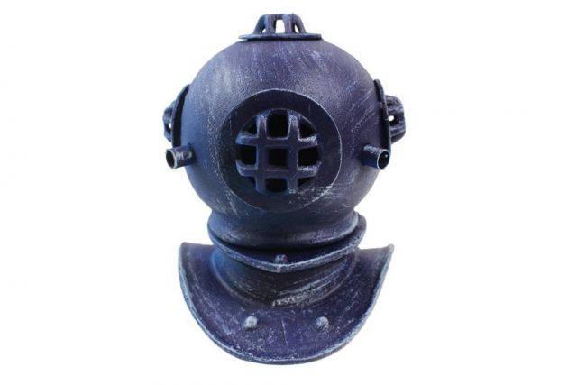 Rustic Dark Blue Cast Iron Decorative Divers Helmet 9