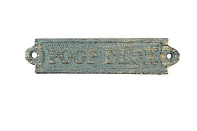 Antique Seaworn Bronze Cast Iron Poop Deck Sign 6