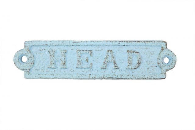 Rustic Light Blue Cast Iron Head Sign 6