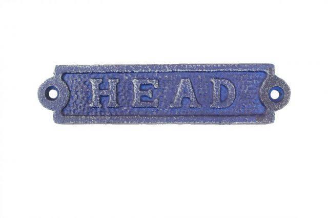 Rustic Dark Blue Cast Iron Head Sign 6
