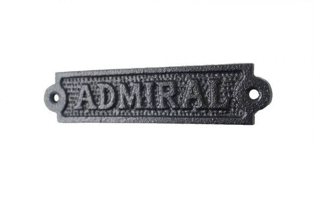 Rustic Black Cast Iron Admiral Sign 6