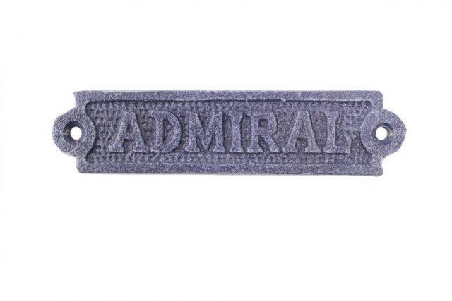 Rustic Dark Blue Cast Iron Admiral Sign 6
