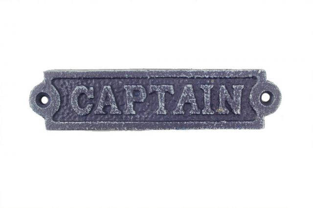Rustic Dark Blue Cast Iron Captain Sign 6