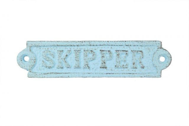 Rustic Light Blue Cast Iron Skipper Sign 6