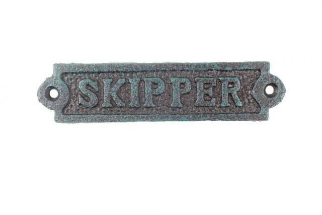 Seaworn Blue Cast Iron Skipper Sign 6