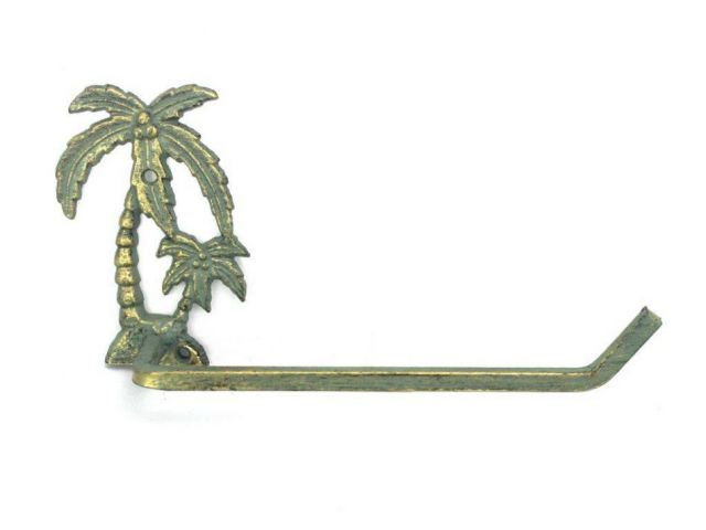 Antique Bronze Cast Iron Palm Tree Hand Towel Holder 10