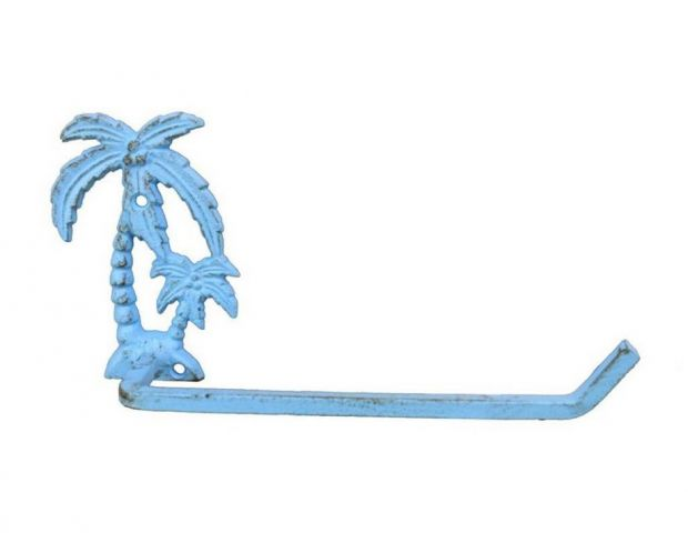 Rustic Light Blue Cast Iron Palm Tree Toilet Paper Holder 10