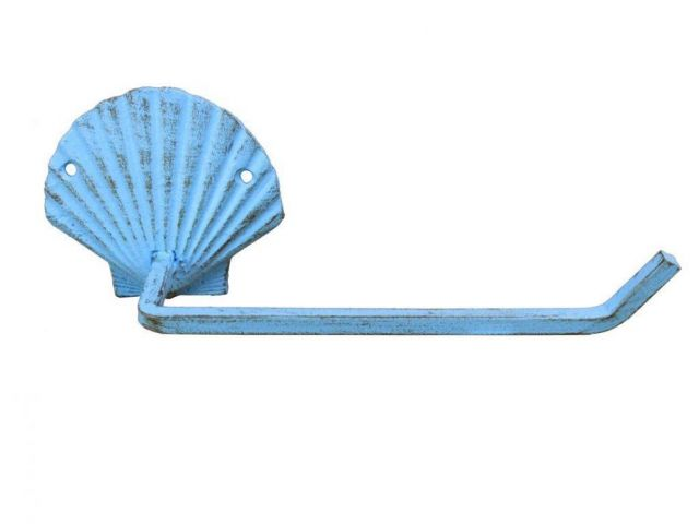 Rustic Light Blue Cast Iron Shell Hand Towel Holder 10