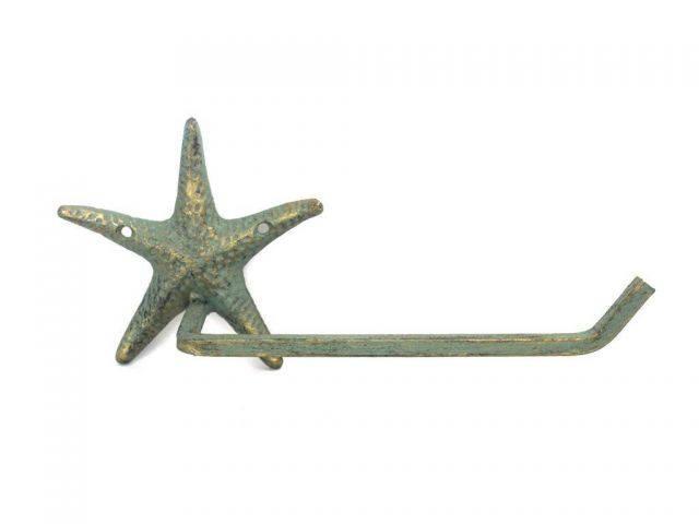Antique Bronze Cast Iron Starfish Toilet Paper Holder 10