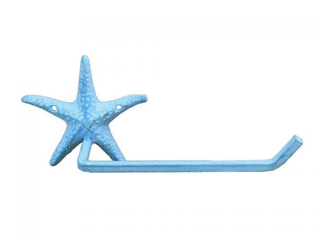 Light Blue Whitewashed Cast Iron Starfish Hand Towel Holder 10