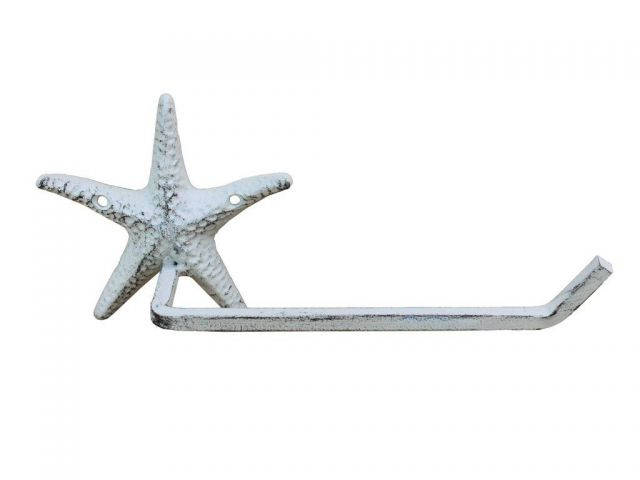 Whitewashed Cast Iron Starfish Hand Towel Holder 10