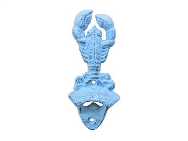 Dark Blue Whitewashed Cast Iron Wall Mounted Lobster Bottle Opener 6