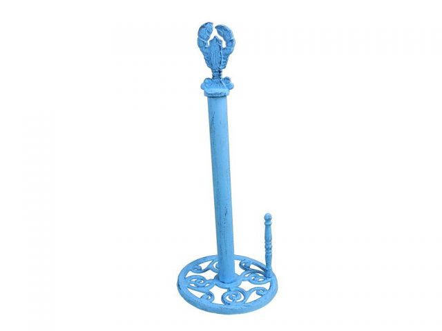 Dark Blue Whitewashed Cast Iron Lobster Paper Towel Holder 16