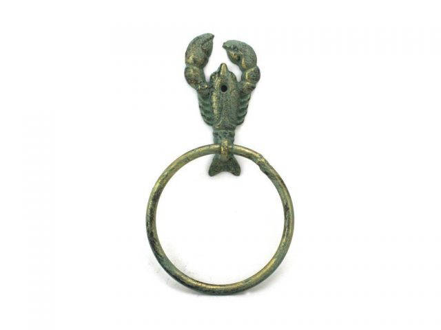 Antique Bronze Cast Iron Lobster Towel Holder 9