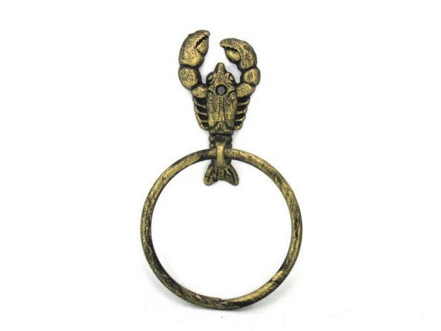 Antique Gold Cast Iron Lobster Towel Holder 9