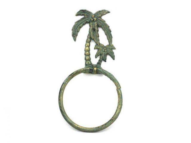 Antique Bronze Cast Iron Palm Tree Towel Holder 9