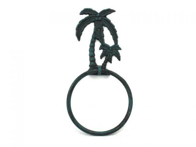 Seaworn Blue Cast Iron Palm Tree Towel Holder 9