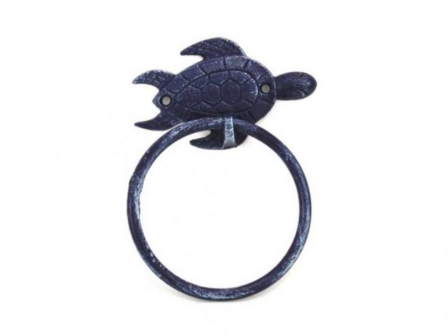 Rustic Dark Blue Cast Iron Sea Turtle Towel Holder 7