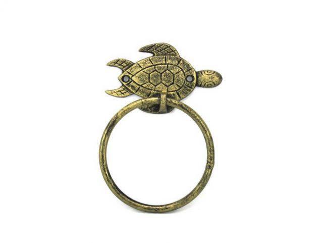 Antique Gold Cast Iron Sea Turtle Towel Holder 7
