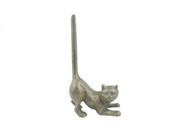 Antique Bronze Cast Iron Cat Paper Towel Holder 10