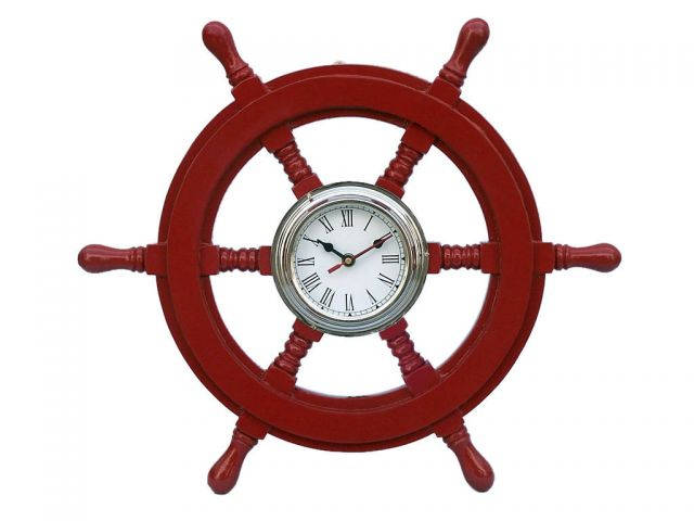 Deluxe Class Red Wood and Chrome Pirate Ship Wheel Clock 18