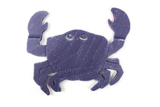 Rustic Dark Blue Cast Iron Crab Trivet 11