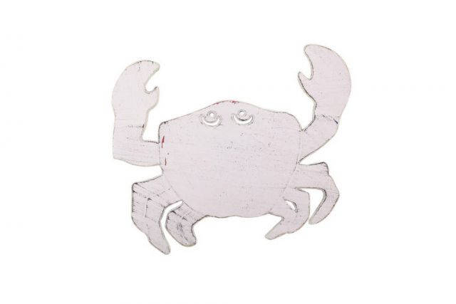 Rustic Whitewashed Cast Iron Crab Trivet 11