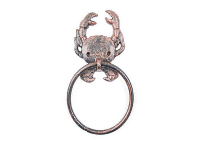 Rustic Copper Cast Iron Crab Towel Holder 8