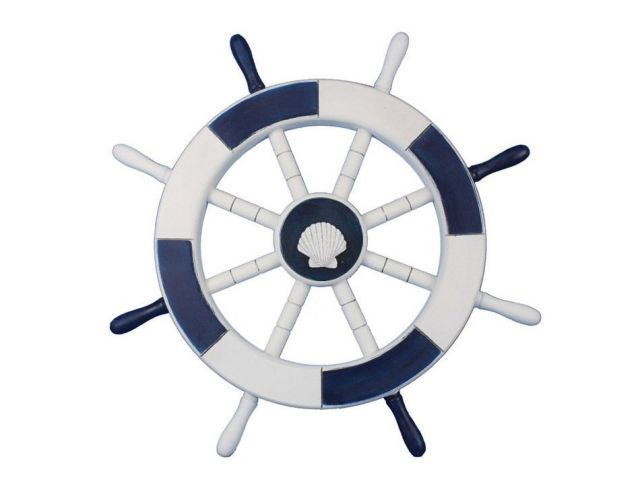 Dark Blue and White Decorative Ship Wheel with Sea Shell 18