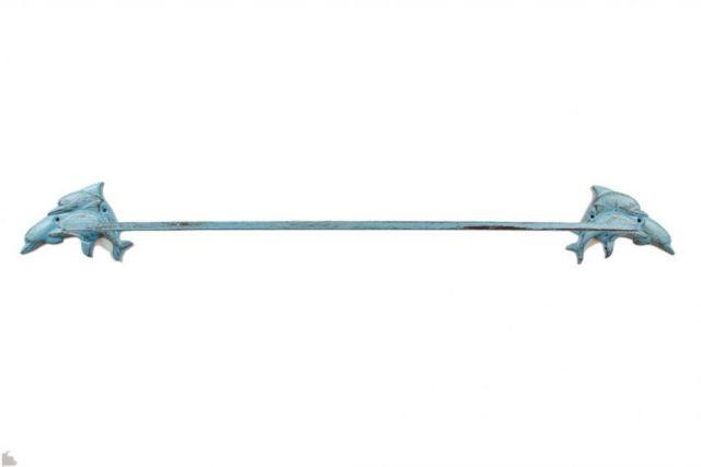Rustic Light Blue Cast Iron Decorative Dolphins Bath Towel Holder 29