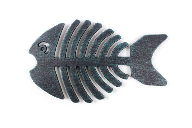 Seaworn Blue Cast Iron Fish Bone Trivet 11