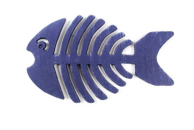 Rustic Dark Blue Cast Iron Fish Bone Trivet 11