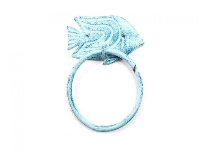 Rustic Dark Blue Whitewashed Cast Iron Angel Fish Towel Holder 6.5
