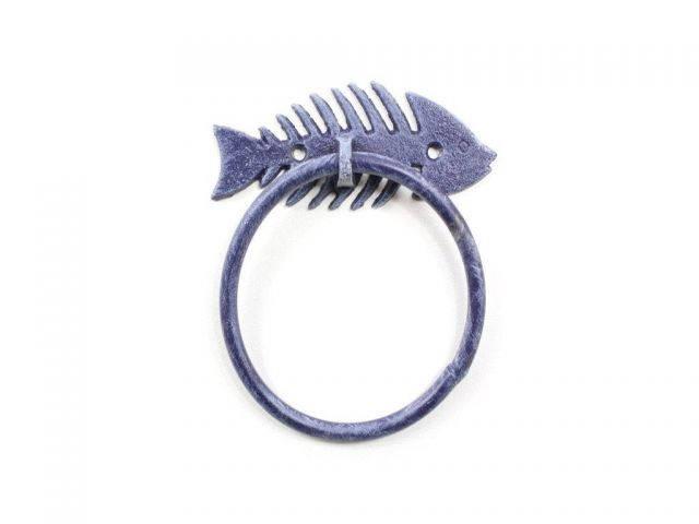 Rustic Dark Blue Cast Iron Fish Bone Towel Holder 5.5