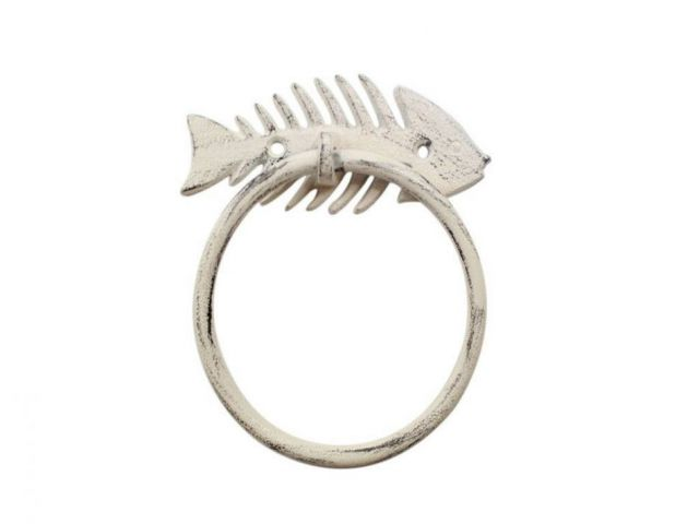 Whitewashed Cast Iron Fish Bone Towel Holder 5.5