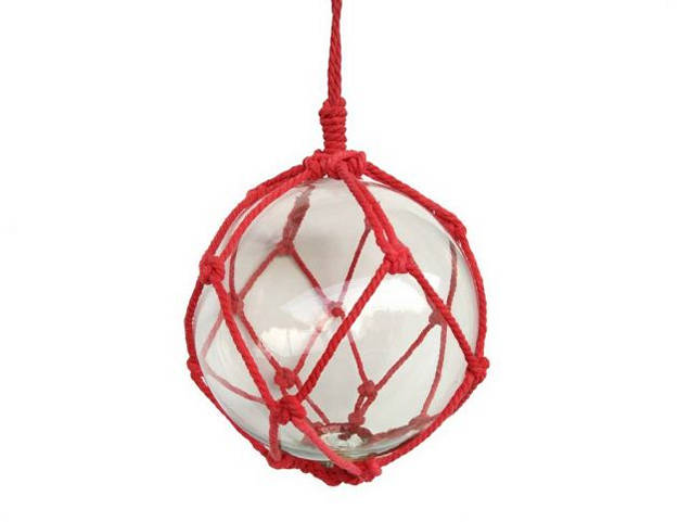 Clear Japanese Glass Ball Fishing Float with Red Netting Decoration 10