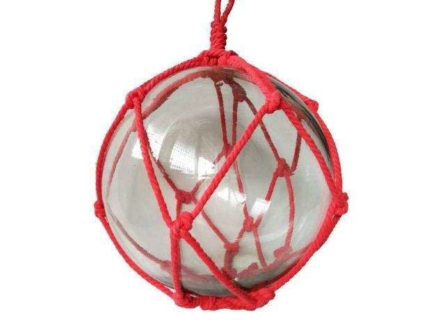 Clear Japanese Glass Ball Fishing Float with Red Netting Decoration 12