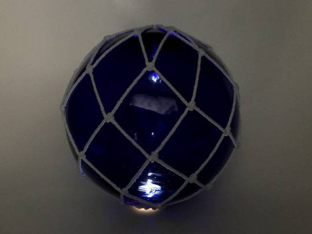 Tabletop LED Lighted Dark Blue Japanese Glass Ball Fishing Float with White Netting Decoration 10