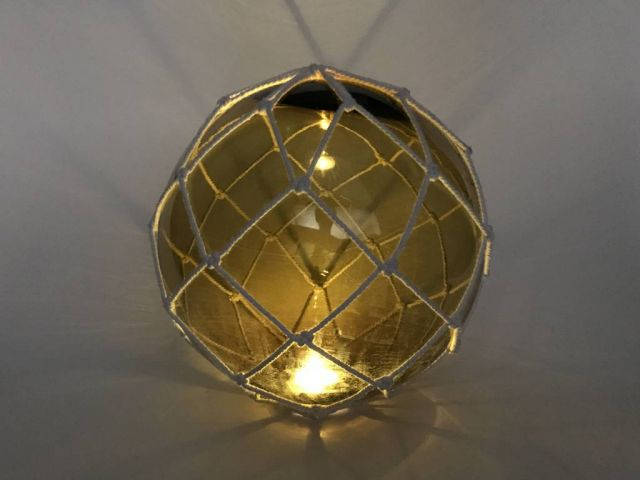 Tabletop LED Lighted Amber Japanese Glass Ball Fishing Float with White Netting Decoration 10