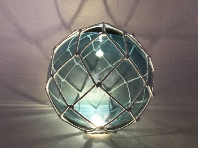 Tabletop LED Lighted Light Blue Japanese Glass Ball Fishing Float with White Netting Decoration 10