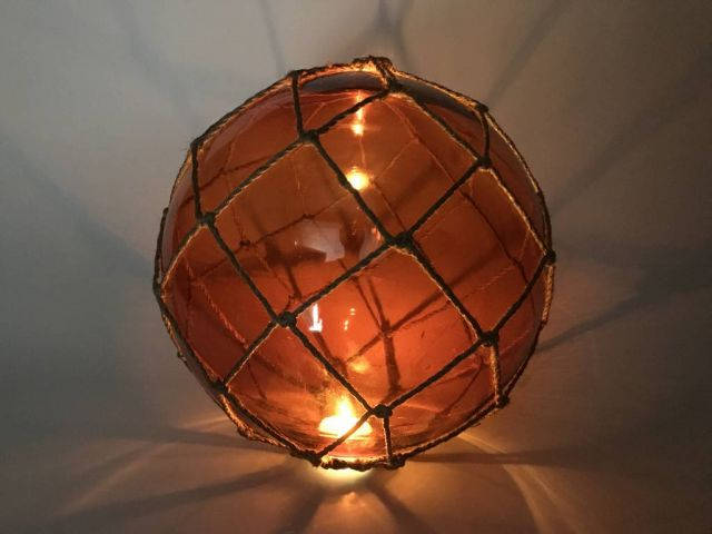 Tabletop LED Lighted Orange Japanese Glass Ball Fishing Float with Brown Netting Decoration 10