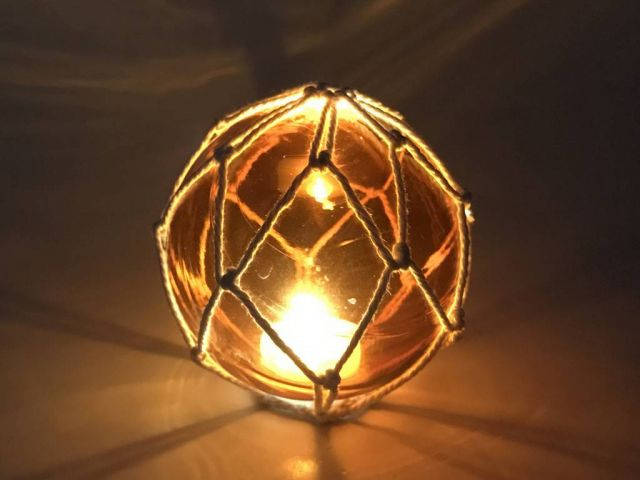 Tabletop LED Lighted Orange Japanese Glass Ball Fishing Float with White Netting Decoration 4