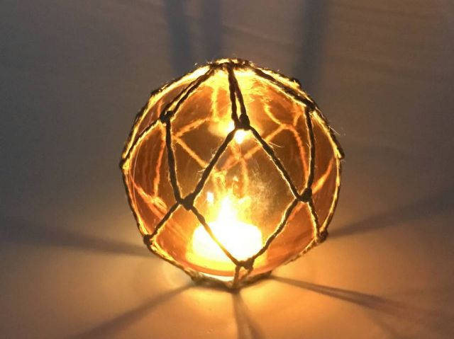 Tabletop LED Lighted Orange Japanese Glass Ball Fishing Float with Brown Netting Decoration 4