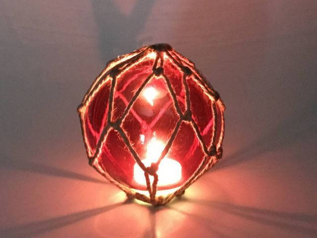Tabletop LED Lighted Red Japanese Glass Ball Fishing Float with Brown Netting Decoration 4