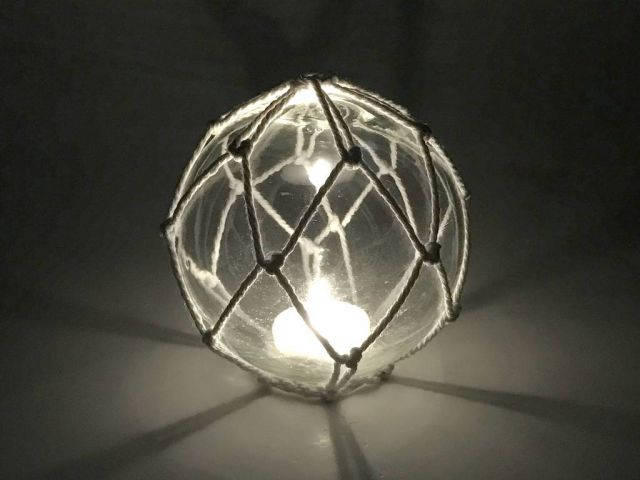 Tabletop LED Lighted Clear Japanese Glass Ball Fishing Float with White Netting Decoration 4