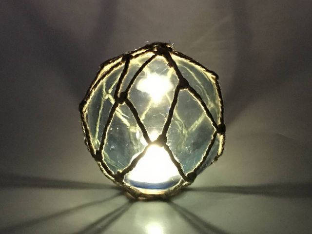 Tabletop LED Lighted Light Blue Japanese Glass Ball Fishing Float with Brown Netting Decoration 4